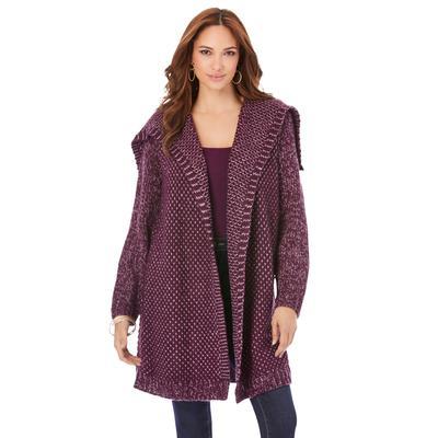 Plus Size Women's Chunky Tweed Cardigan by Roaman's in Dark Berry Berry (Size L)