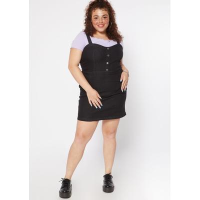 Rue21 Womens Plus Size Black Button Front Jean Dress - Size 1X