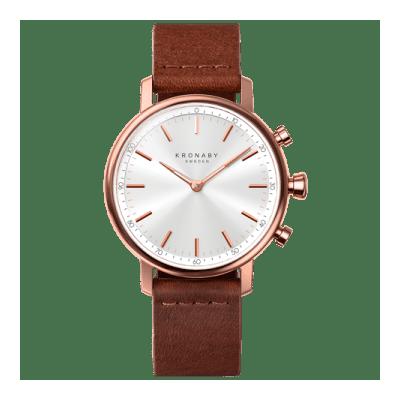 Kronaby - Carat 38 Mm Hybrid Smartwatch Silver Brown Leather
