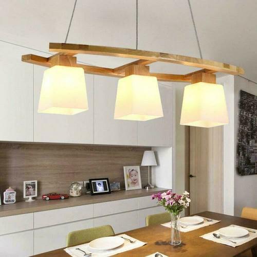 ZMH Pendelleuchte esstisch Rustikal Hängelampe aus Holz Glas Hängeleuchte Esstischlampe E27