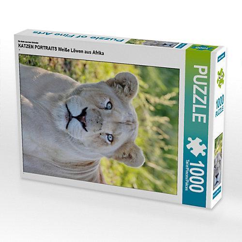 KATZEN PORTRAITS Weiße Löwen aus Afrika Foto-Puzzle Bild von Thula Puzzle