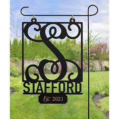 Personalized Planet Garden Flags - Black Cursive Initial Personalized Hanging Garden Sign