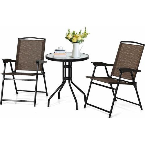 3tlg. Bistroset, 3-teiliges Gartenmoebel Set, Sitzgarnitur aus 1 Glastisch & 2 Klappstühlen, aus