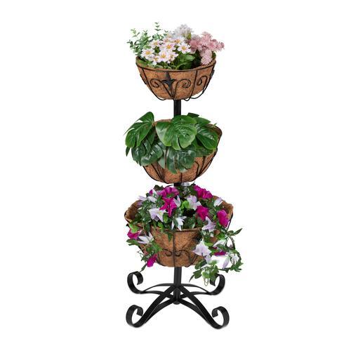 Relaxdays Blumenständer mit Kokospflanztöpfen