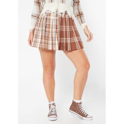 Rue21 Womens Brown Plaid Colorblock Pleated Skirt - Size Xl
