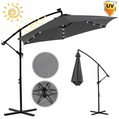 Terrassenschirm Sonnenschirm Grau Kurbelschirm 300 cm Sonnenschutz Ampelschirm LED Gartenschirm
