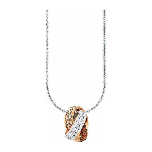 Kette mit Anhänger für Damen, Sterling Silber 925, Kristallglas Fantasie amor Apricot