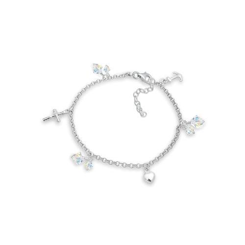 Armband Kreuz Herz Anker Kristalle 925 Silber Elli Silber