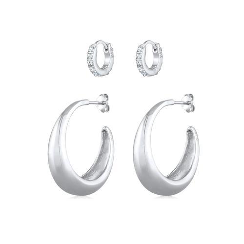 Ohrringe Creolen Basic Mini Kristalle 2Er Set 925 Silber Elli Premium Silber
