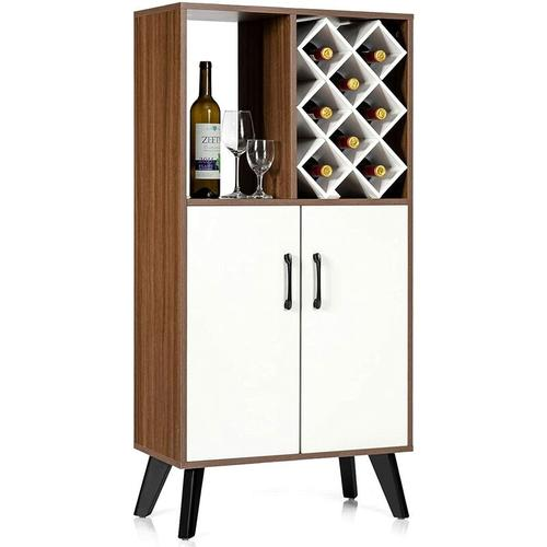 Weinregal Weinschrank mit 8 Weinfaechern, Buffet Sideboard aus Holz, Beistellschrank ,