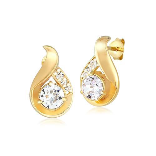 Ohrringe Tropfen Kristalle Glamour 925 Silber Elli Gold