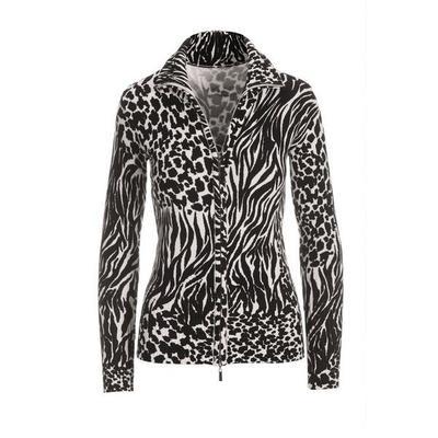 Boston Proper - Mixed Animal Proper Zip-Up Cardigan - Black/offwhite - Medium