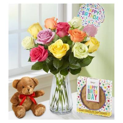 Happy Birthday Assorted Roses, 12 Stems with Clear Vase, Bear & Cookie by 1-800 Flowers