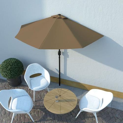 Balkon-Sonnenschirm mit Alu-Mast Taupe 270×135 cm Halbrund