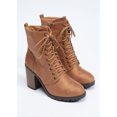 Rue21 Womens Brown Faux Suede Lace Up Stack Heel Hiker Bootie - Size 10
