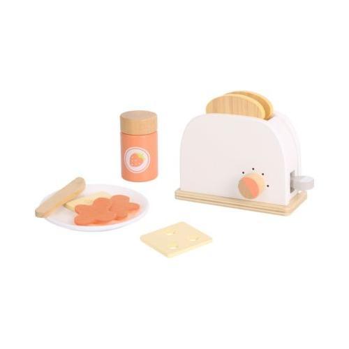 Toaster Set mit Geschirr aus Holz