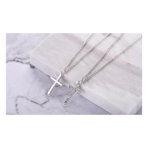 Halskette: 2x/ 1x Halskette mit Kreuz-Anhänger + 1x Halskette mit Swarovski®-Kristallen