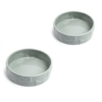Set Of Two Manor Grey Large Pet Dog Bowls by Park Life Designs in Grey