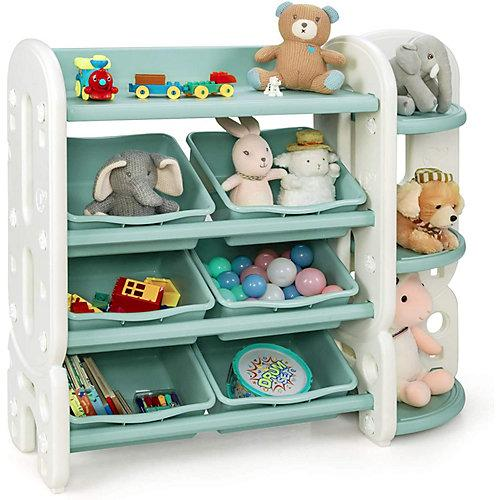 Spielzeugregal mit 6 Aufbewahrungsboxen grün/weiß