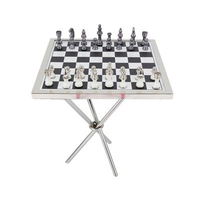 Juniper + Ivory Grayson Lane 4 In. x 25 In. Contemporary Game Set Table Silver Aluminum - 75343