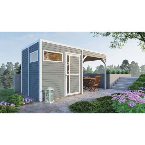 Garten- und Gerätehaus Design Cube Lounge , Farbbehandlung Hellgrau