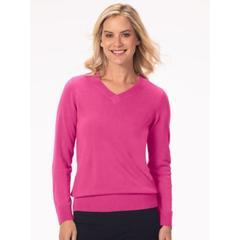 Women's Plus Appleseed's Spindrift V-Neck Pullover, Deep Rose Pink 2X