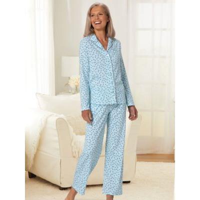 Women's Karen Neuburger® Geometric Multi Print Long-Sleeve Girlfriend Knit Pajamas, Geometric Multi Brown XL Misses