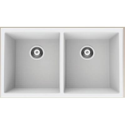 32-in. W White Granite Composite Kitchen Sink With 2 Bowl - American Imaginations AI-34547