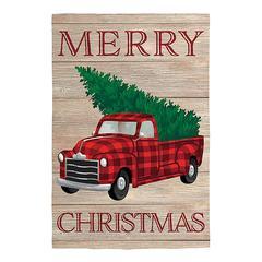 Evergreen Garden Flags - Red & Green Buffalo Check 'Merry Christmas' Holiday Truck Outdoor Flag