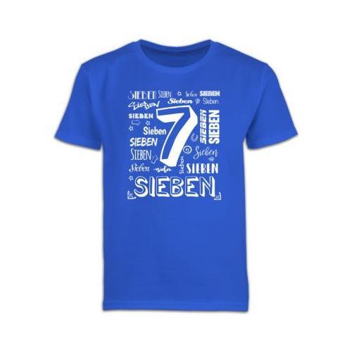 Kindergeburtstag Geburtstag Geschenk 7. Geburtstag Zahlen T-Shirts Kinder blau Kinder