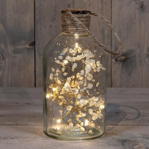 LED-Glasflasche mit getrockneter Blume, 20x9,5 cm, weiß