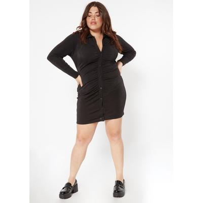 Rue21 Womens Plus Size Black Ruched Button Front Polo Dress - Size 2X