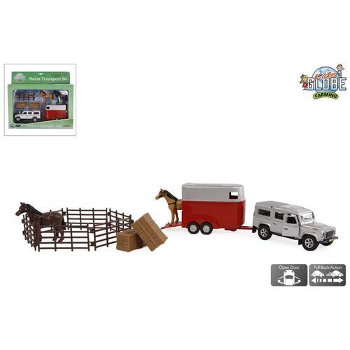 Kids Globe Pull-Back Land Rover mit Pferdeanhänger und Zubehör 26 cm