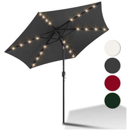 3m Sonnenschirm Marktschirm mit Handkurbel UV30+ Outdoor-Schirm Terrassen mit LED Solar Grau 3m