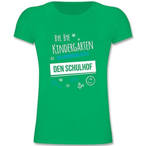 Schulkind Einschulung und Schulanfang Geschenke Bye Bye Kindergarten Einschulung Schulhof T-Shirts Kinder grün Kinder