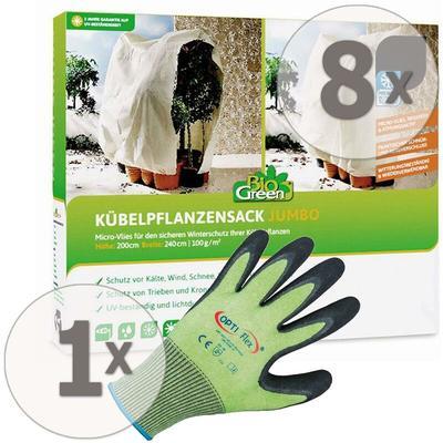 8 x BioGreen Winterschutz Kübelpflanzensack JUMBO 240x200cm + Gratis Handschuhe
