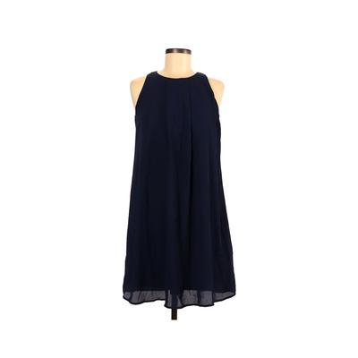 Spring Casual Dress - A-Line: Blue Solid Dresses - Used - Size Small