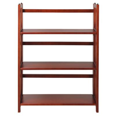 """3-Shelf Folding Stackable Bookcase 27.5"""" Wide-Mahogany by Casual Home in White"""