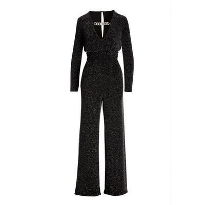 Boston Proper - Multicolor Glitter Jumpsuit - Black Multi - Xx Small