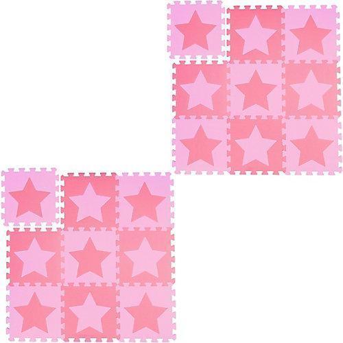18 x Puzzlematte Sterne Spielmatte Spielunterlage Krabbelmatte Baby rosa-pink
