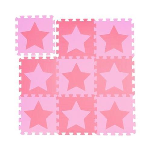 9 x Puzzlematte Sterne Spielmatte Krabbelunterlage Kinder Bodenpuzzle rosa-pink