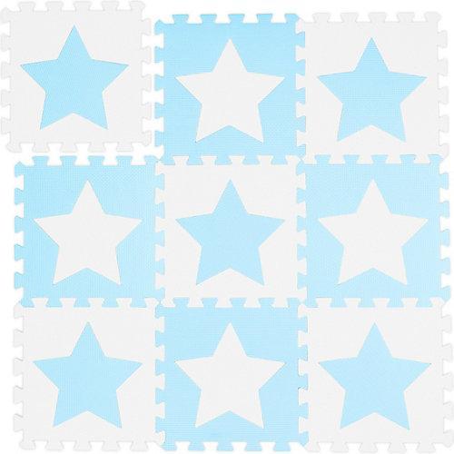 9 x Puzzlematte Sterne, Kindermatte weiß-blau, Bodenmatte, Krabbelmatte Kinder weiß-kombi