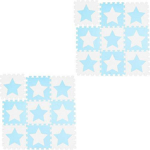 18x Puzzlematte Sterne Spielmatte Bodenpuzzle Set Babymatte Spielmatte weiß-blau weiß-kombi