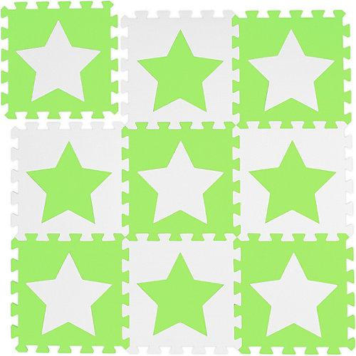 9 x Puzzlematte Sterne, Kinderspielmatte, Kindermatte, Bodenmatte weiß-grün weiß-kombi