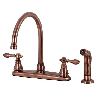 Kingston Brass KB726ACLSP American Classic Centerset Kitchen Faucet with Side Sprayer, Antique Copper - Kingston Brass KB726ACLSP