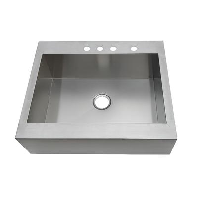 Gourmetier GKTSF302494 Edinburg Drop-In 30 Inch Single Bowl Kitchen Sink, Brushed - Kingston Brass GKTSF302494