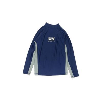 Assorted Brands Rash Guard: Blue Solid Swimwear - Size Medium