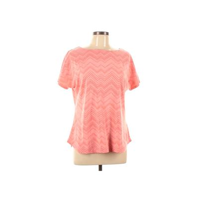 Merrell Short Sleeve T-Shirt: Pink Chevron/Herringbone Tops - Size Large