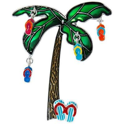 Brighten the Season Palm Tree Flip Flop Ornaments Party Pin