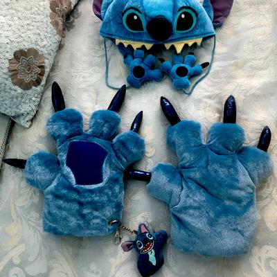 Disney Costumes | Disney Stitch Childs Hat And Glove Wkeychain Collection | Color: Blue | Size: Osbb